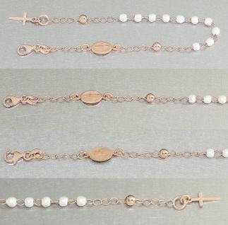 Rosenkranz Armband echt Silber 925 Rosegold vergoldet Perlen weiß Kreuz Maria