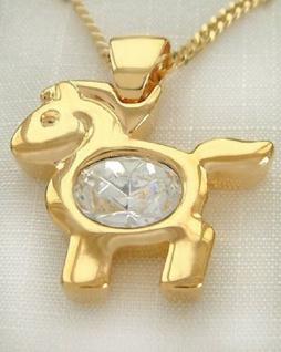 Großes Pferd Gold facettierter Kristall Goldkette und Anhänger vergoldet Kette