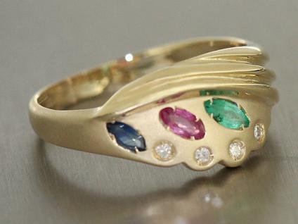 Brillantring mit Edelsteinen Goldring 585 Ring Gold 14 kt Rubin Saphir Smaragd