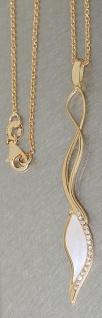 Exclusives Collier Silberkette 925 Gold Kette und langer Anhänger mit Perlmutt