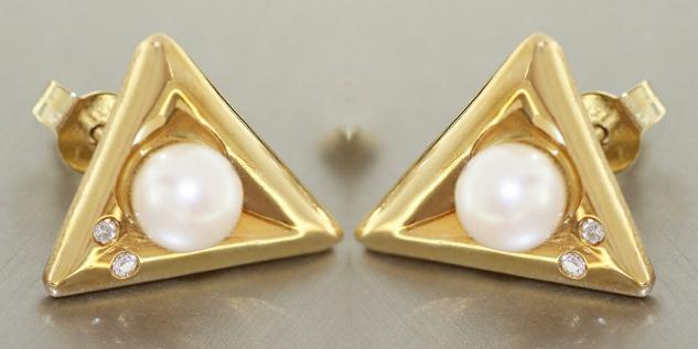Ohrstecker Gold 585 mit Perlen + Zirkonias - Ohrhänger - Ohrschmuck