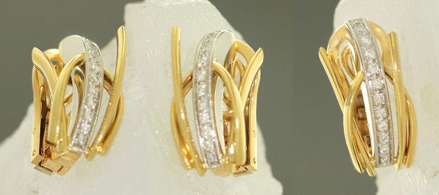 Ohrclips Gold Weißgold 750 und Platin 950 mit Brillanten 0, 25 ct. Goldohrclips
