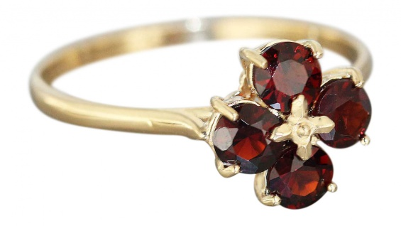 Ring Granatblume Goldring 585 - mit echten Granaten - Granatring Ring Gold 14 kt