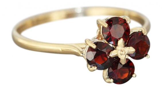 Ring Granatblume Goldring 585 mit echten Granaten Granatring Ring Gold 14 kt