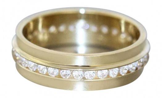 Breiter Memoryring Gold 750 mit Zirkonias Goldring Eternity Ring Damenring 18 Kt