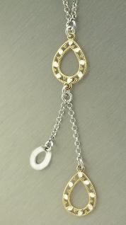 Y Collier Kette Gold pl und Silber 925 Silberkette massiv mit Anhänger