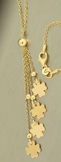 Y-Kette Silber 925 vergoldet Kleeblatt Anhänger Silberkette Gold Karabiner
