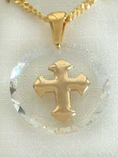 Anhänger Kreuz Gold pl auf Kristall + Goldkette pl - Panzerkette - Kette Gold pl