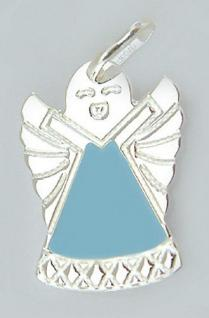 Schutzengel Silber 925 Anhänger Engel blau emailliert kleiner Silberanhänger