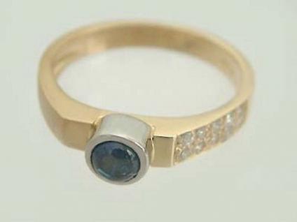Saphir-Brillantring - Goldring 585 - Brillanten und Saphir - Ring Gold 14 kt