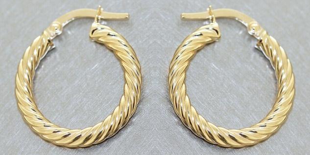Creolen Gold 585 Ohrringe gedreht 14 Karat Damen Ohrschmuck 2, 0 cm - Vorschau 3