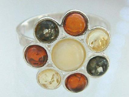 Ring Silber 925 Bernstein Blume echter Silberring Bernsteinring mehrfarbig