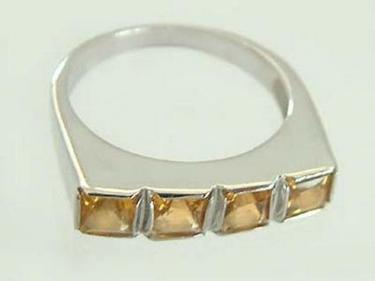 Weißgoldring mit Citrin Carrees - Ring Weißgold 585 Damenring Gold - Top Design!