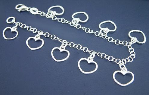 Herzerlarmband - Silberarmband 925 - Bettelarmband Herz - Armkette Silber massiv