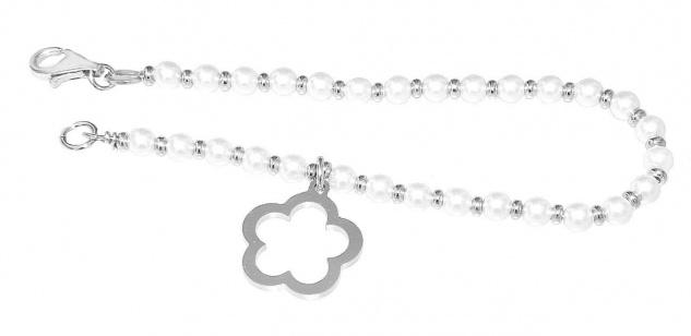 Armband Silber 925 Perlen Armkette Anhänger Blume Perlenarmband Karabiner Damen