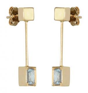Ohrstecker mit Blautopaz - Langer Ohrschmuck Gold 585 - Goldohrstecker Ohrringe