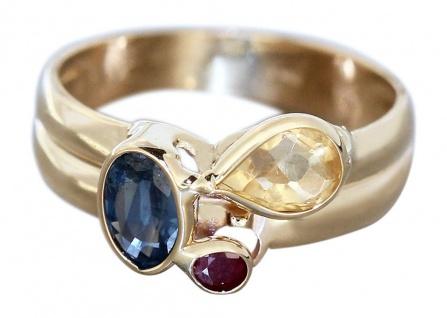 Ring Gold 585 Edelsteinen Rubin Saphir Citrin Goldring Damenring