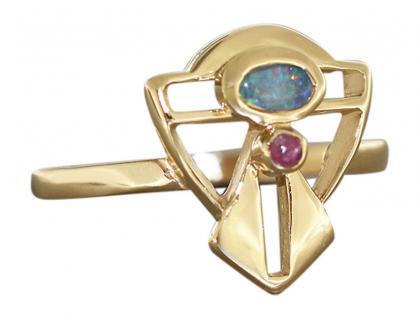 Goldring 750 mit Opal und Rubin - Jugendstil Design Ring Gold Opalring Damenring