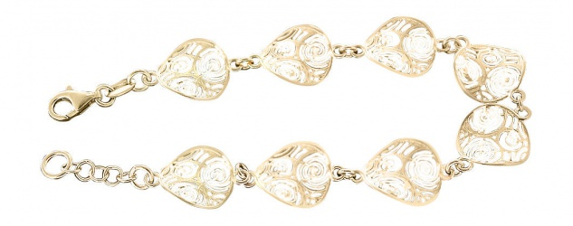 Edles Armband Silber 925 massiv - Silberarmband Glieder Gold Armkette vergoldet