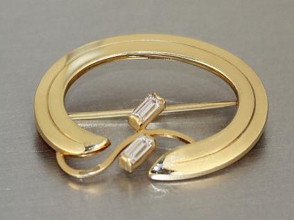 Brosche Gold 585 mit 2 Zirkonias, Goldbrosche 14 kt Gelbgold