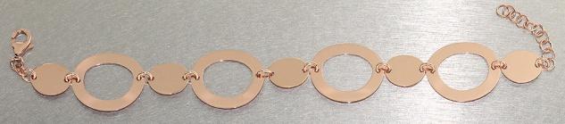 Elegantes breites Armband Silber 925 Rotgold - Silberarmband - Armkette Rosegold