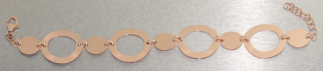 Elegantes breites Armband Silber 925 Rotgold Silberarmband Armkette Rosegold