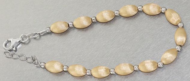 Elegantes Armband Silber 925 Gold Silberarmband ovale Perlen Kugelarmband Kette