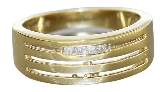 Goldring 585 Brillanten massiver breiter Ring Gold 14 Karat Bandring Brillant