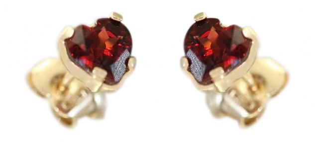 Herz Ohrstecker Gold 585 Granat Ohrschmuck Granatherzen Kinder Damen Ohrringe