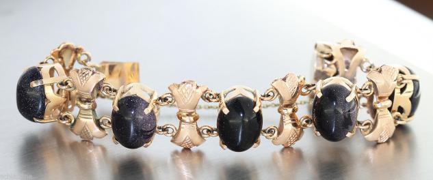 Armband Gold 585 - 18, 5 cm lang - Goldarmband 585 mit Blaufluss Schmucksteinen