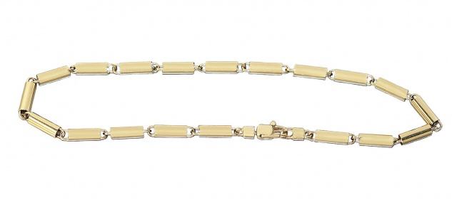 Armband Gold 585 Karabiner 21 cm Goldarmband 14 Kt. Armkette Röhrchen 5, 3 gr.