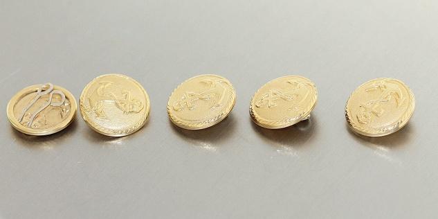 Knopfüberzug Gold 750 / 18 Karat 1 Stück Anker Knopfabdeckung Gelbgold 18 Karat