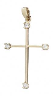 Goldkreuz 585 - Anhänger Gold - zartes Kreuz mit Zirkonia - Goldanhänger 14 kt
