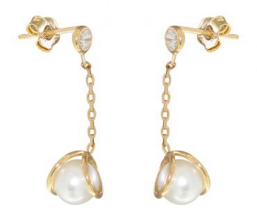 Ohrhänger Silber 925 Gold mit Perle und Zirkonia - Ohrstecker - Perlenohrhänger