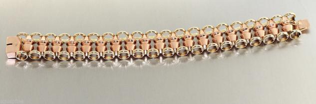 Armband Gold 585, Goldschmiedearbeit Einzelstück in 14 kt Gold, 2 cm breit