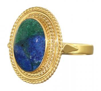 Ring Gold 750 mit Azurit Goldring 18 Karat - großer Damenring oval Azuritring