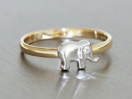 Kinderring + Ring Gold 585 mit Elefant und Zirkonia - Goldring - bicolor 14 kt