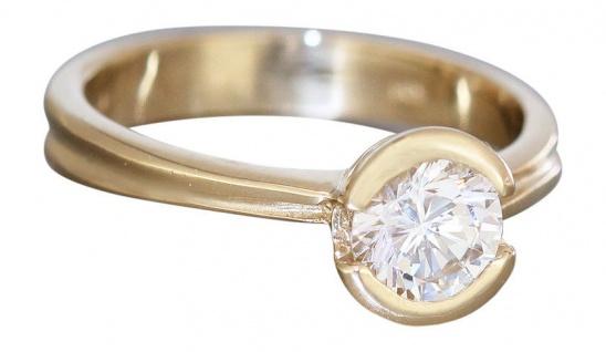 Solitärring Gold 585 mit Zirkonia Goldring Damenring Ring Gelbgold 14 kt - Rw 55