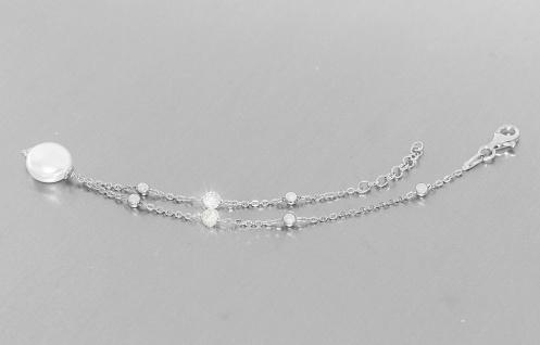 Armband echt Silber 925 mit Perle und Zirkonias Armkette Karabiner Must have!