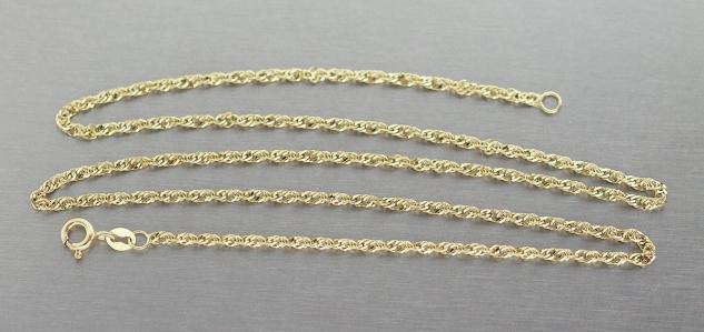 Goldkette 585 Singapurkette massive gedrehte Halskette 45 cm Kette Gold 14 Karat