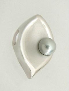 Eleganter Anhänger Blatt Silber 925 graue Perle Silberanhänger Silberblatt
