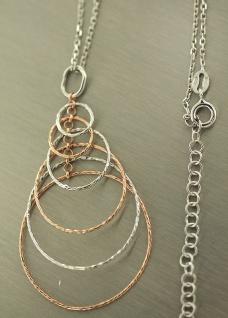 Silberkette 925 mit Anhänger lang und beweglich Halskette Silber Rotgold pl