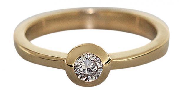 Brillantring 0, 20 ct. Solitärring Brillant klassischer Goldring 585 Ring Gold