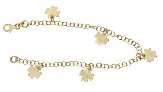 Kleeblatt Armband Silber 925 Bettelarmband mit Anhängern Glücksbringer Armkette