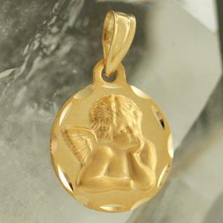 Schutzengel Anhänger Gold 585 - Goldanhänger Engel 14 kt zur Taufe od. Kommunion - Vorschau 2