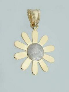 Margerite - Anhänger Gold 585 - Goldanhänger Blume diamantiert - Goldblume 14 kt