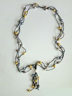 Multicolor Perlenkette super Blickfang echte Perlen in drei Farben Halskette