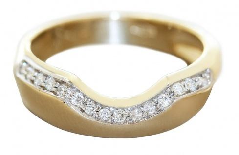 Diamantring Gold 585 Damenring massiv 15 Brillanten 0, 18 ct Top Design Goldring