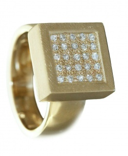 Ring Gold 585 Brillanten Quadrat massiv Design Brillantring 0, 25 ct. Damen