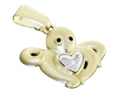 Anhänger Gold 585 Octopus mit Herz Diamant Kettenanhänger Krake 14 Karat